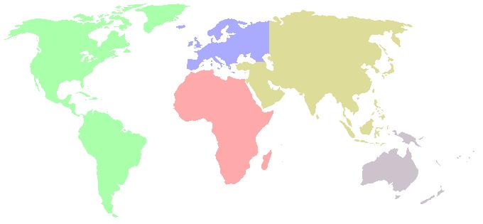 Weltkarte kontinente